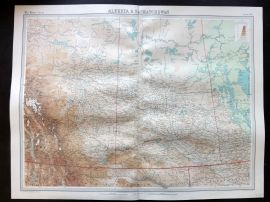Bartholomew 1922 Large Map. Alberta & Saskatchewan.